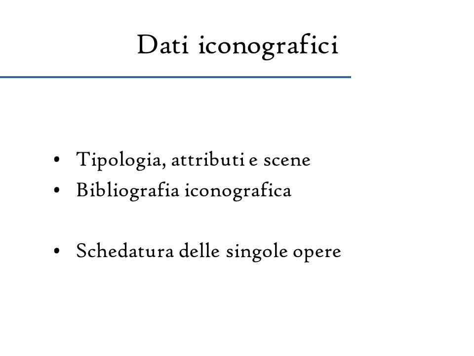 Dati iconografici Tipologia, attributi e scene Bibliografia iconografica Schedatura delle singole opere
