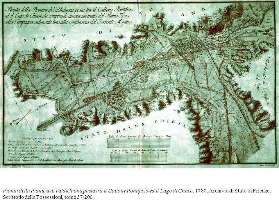 Pianta della Pianura di Valdichiana posta tra il Callone Pontificio ed il Lago di Chiusi, 1780, Archivio di Stato di Firenze, Scrittotio delle Possess