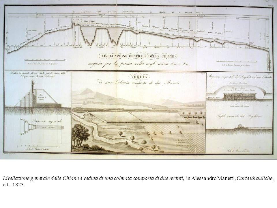 Livellazione generale delle Chiane e veduta di una colmata composta di due recinti, in Alessandro Manetti, Carte idrauliche, cit., 1823.