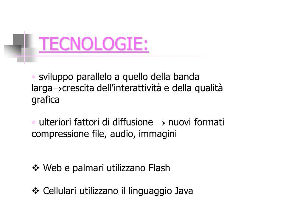 TECNOLOGIE: sviluppo parallelo a quello della banda larga crescita dellinterattività e della qualità grafica ulteriori fattori di diffusione nuovi formati compressione file, audio, immagini Web e palmari utilizzano Flash Cellulari utilizzano il linguaggio Java