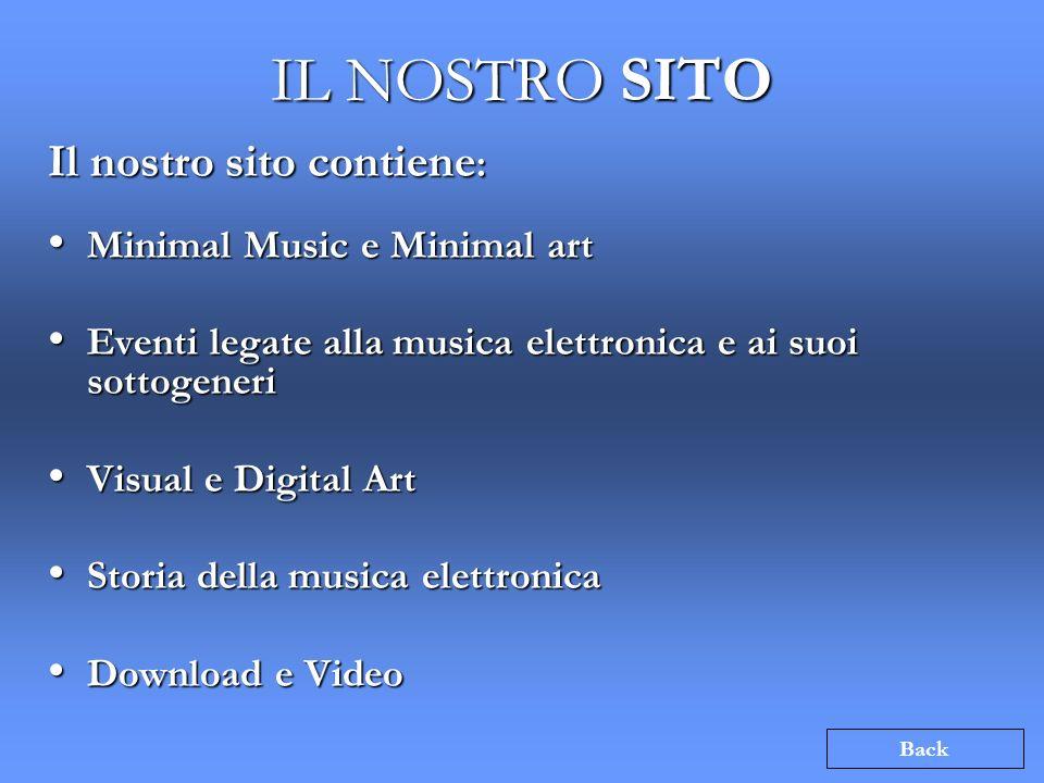 IL NOSTRO SITO Il nostro sito contiene : Minimal Music e Minimal art Minimal Music e Minimal art Eventi legate alla musica elettronica e ai suoi sotto