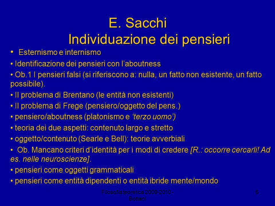 Filosofia teoretica 2009-2010 - Bottani 6 E.