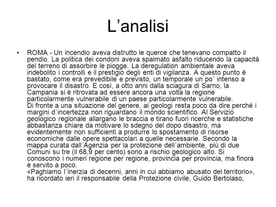 Lanalisi ROMA - Un incendio aveva distrutto le querce che tenevano compatto il pendio.