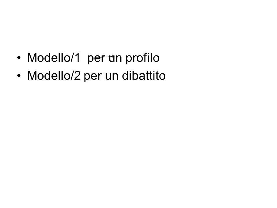 Modello/1 per un profilo Modello/2 per un dibattito