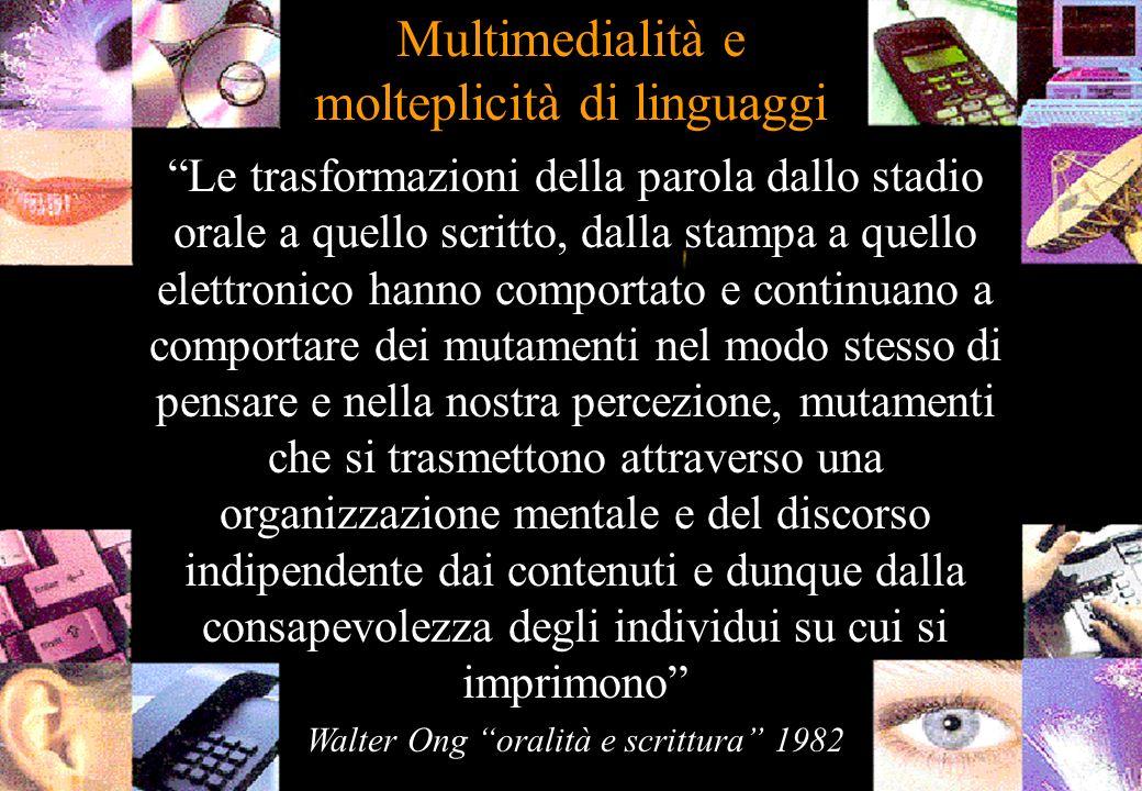 Multimedialità e molteplicità di linguaggi Le trasformazioni della parola dallo stadio orale a quello scritto, dalla stampa a quello elettronico hanno