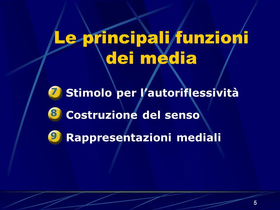5 Le principali funzioni dei media Stimolo per lautoriflessività Costruzione del senso Rappresentazioni mediali 7 8 9