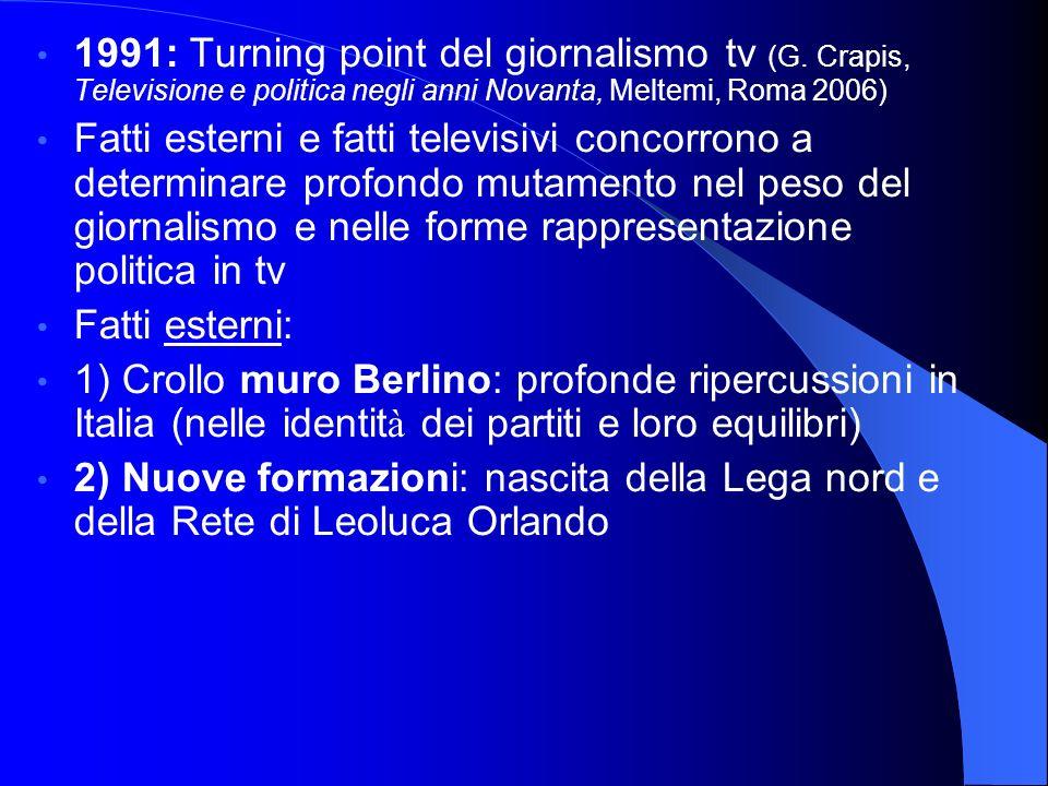 1991: Turning point del giornalismo tv (G. Crapis, Televisione e politica negli anni Novanta, Meltemi, Roma 2006) Fatti esterni e fatti televisivi con