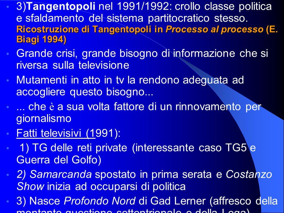 Ricostruzione di Tangentopoli in Processo al processo (E. Biagi 1994) 3)Tangentopoli nel 1991/1992: crollo classe politica e sfaldamento del sistema p