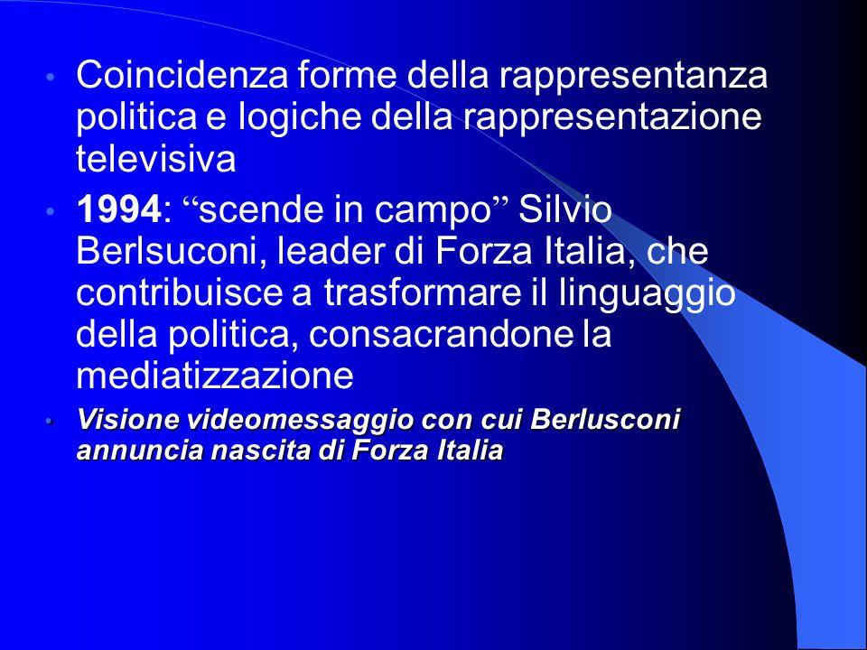 Coincidenza forme della rappresentanza politica e logiche della rappresentazione televisiva 1994: scende in campo Silvio Berlsuconi, leader di Forza I
