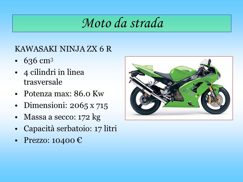 Moto da strada KAWASAKI NINJA ZX 6 R 636 cm 3 4 cilindri in linea trasversale Potenza max: 86.0 Kw Dimensioni: 2065 x 715 Massa a secco: 172 kg Capaci