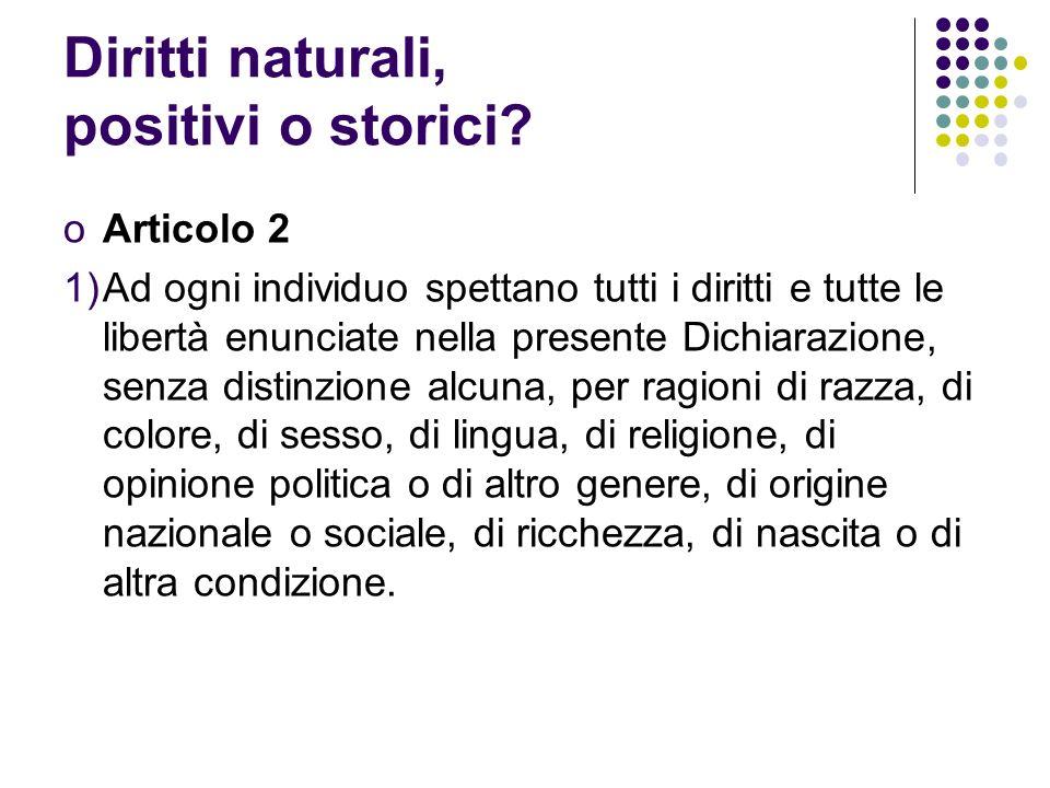 Diritti naturali, positivi o storici.