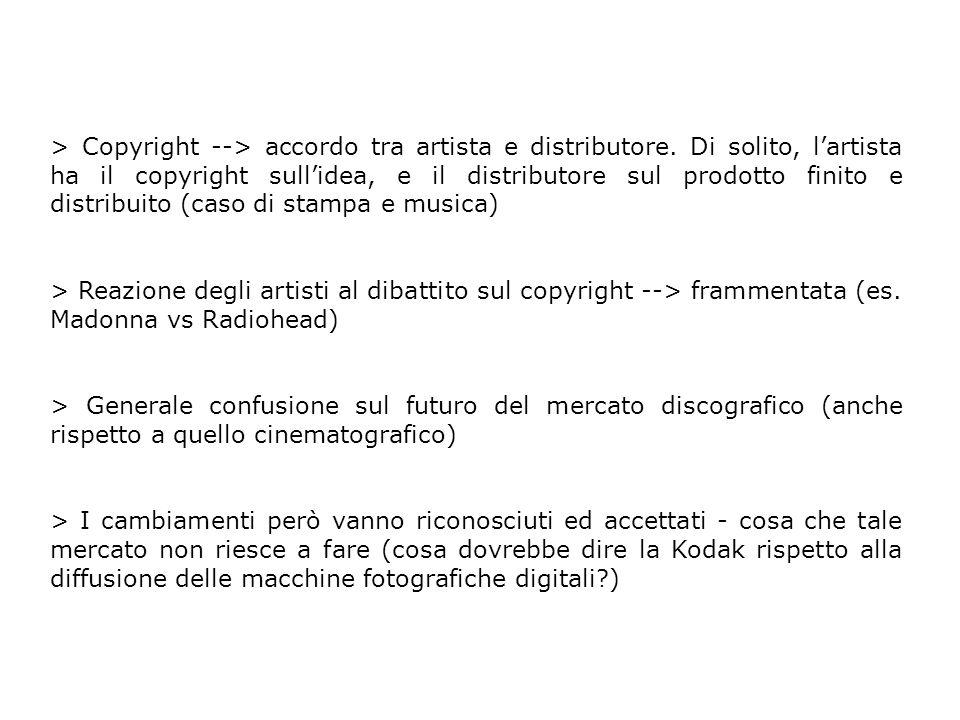 > Copyright --> accordo tra artista e distributore. Di solito, lartista ha il copyright sullidea, e il distributore sul prodotto finito e distribuito