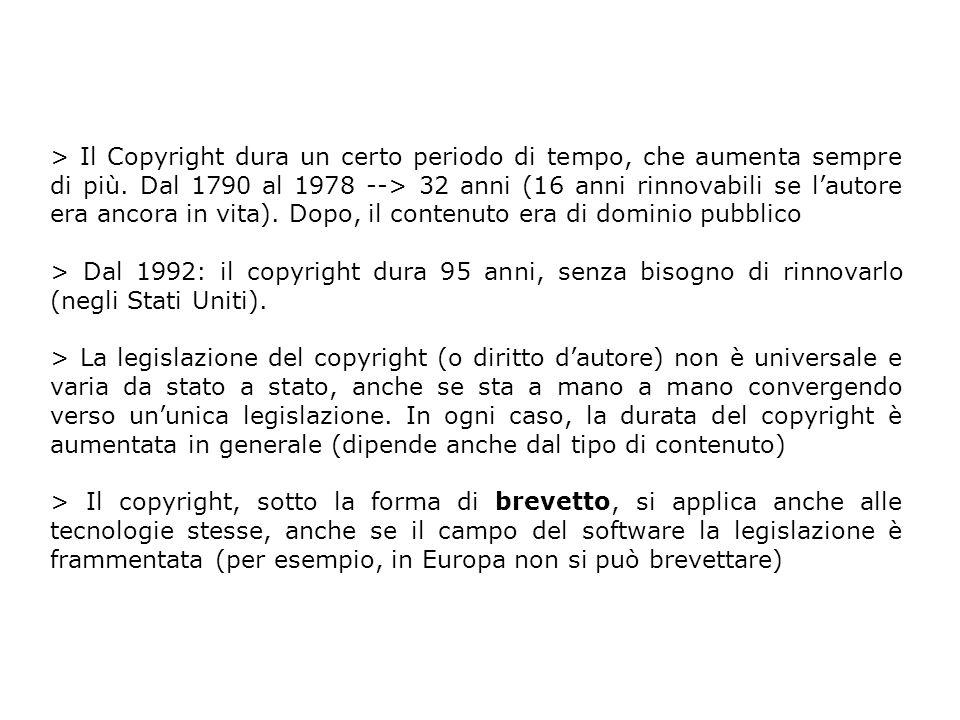 > Il Copyright dura un certo periodo di tempo, che aumenta sempre di più. Dal 1790 al 1978 --> 32 anni (16 anni rinnovabili se lautore era ancora in v