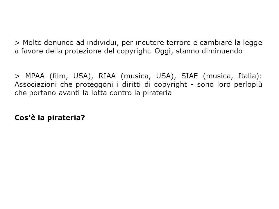 > Pirateria --> prendere un prodotto artistico senza il permesso di chi ne detiene il copyright Chi ne detiene il copyright?