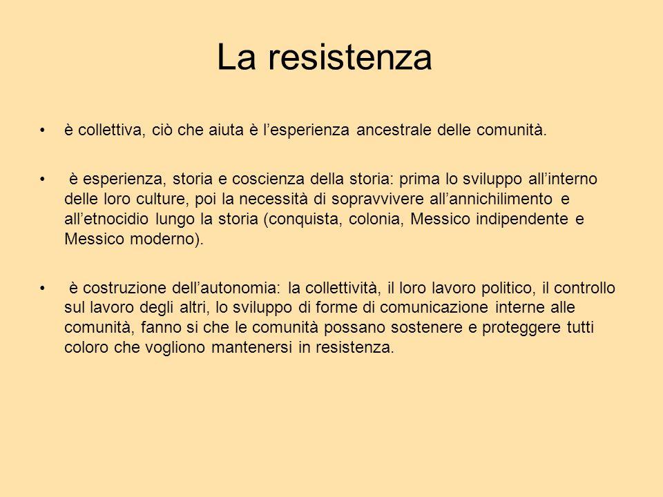 La resistenza è collettiva, ciò che aiuta è lesperienza ancestrale delle comunità. è esperienza, storia e coscienza della storia: prima lo sviluppo al
