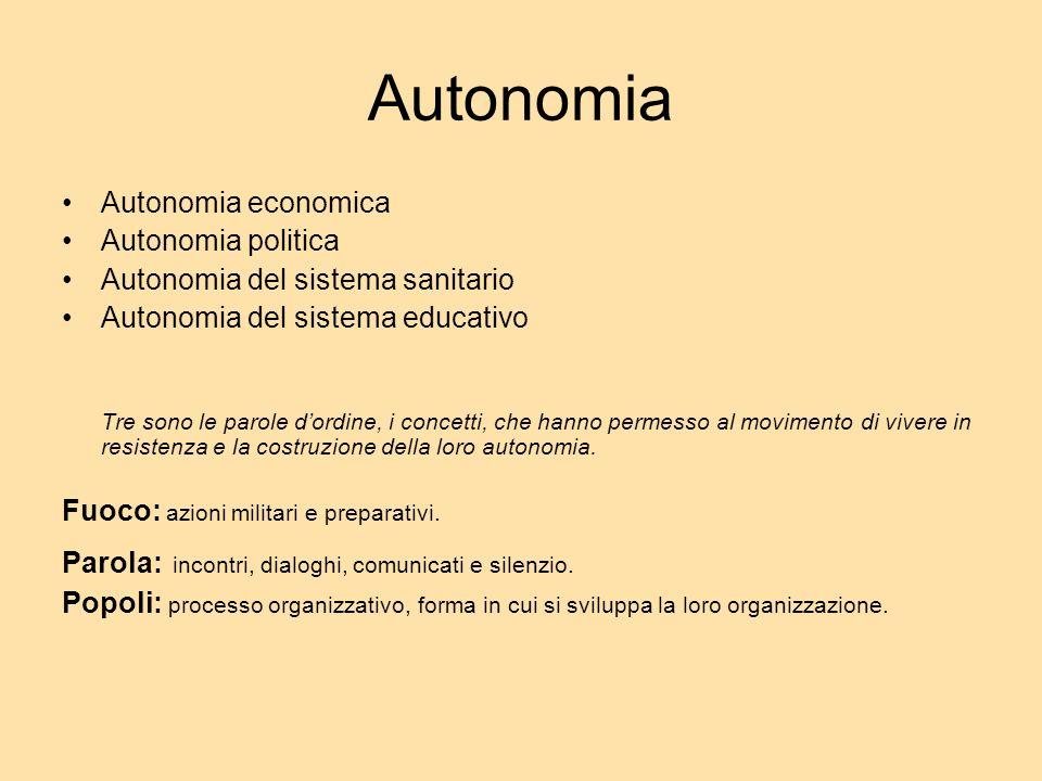 Autonomia Autonomia economica Autonomia politica Autonomia del sistema sanitario Autonomia del sistema educativo Tre sono le parole dordine, i concett