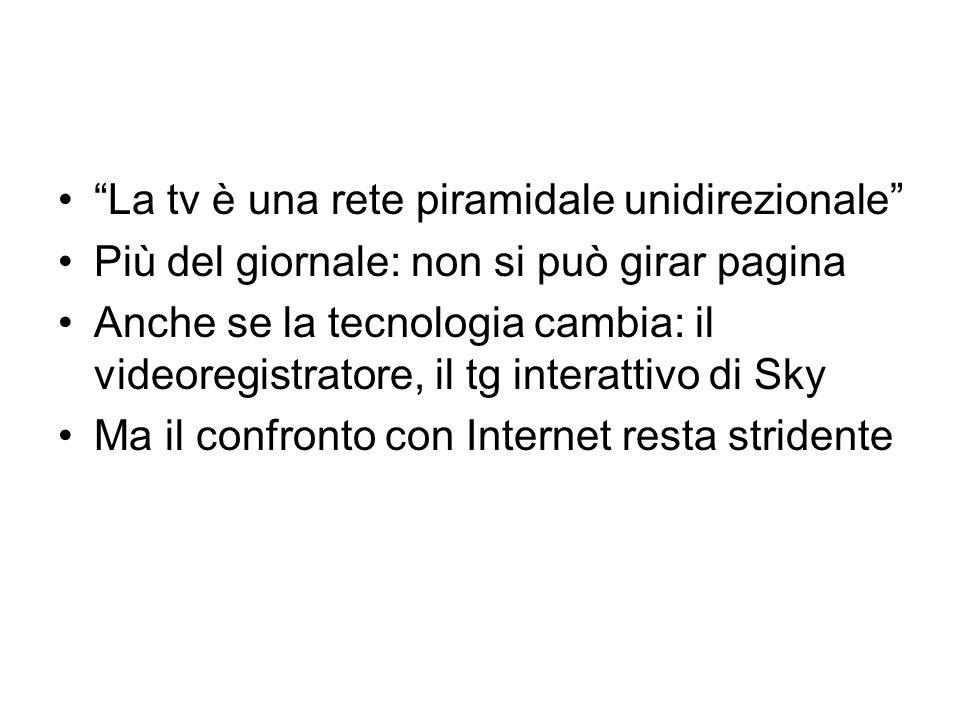 La tv è una rete piramidale unidirezionale Più del giornale: non si può girar pagina Anche se la tecnologia cambia: il videoregistratore, il tg interattivo di Sky Ma il confronto con Internet resta stridente