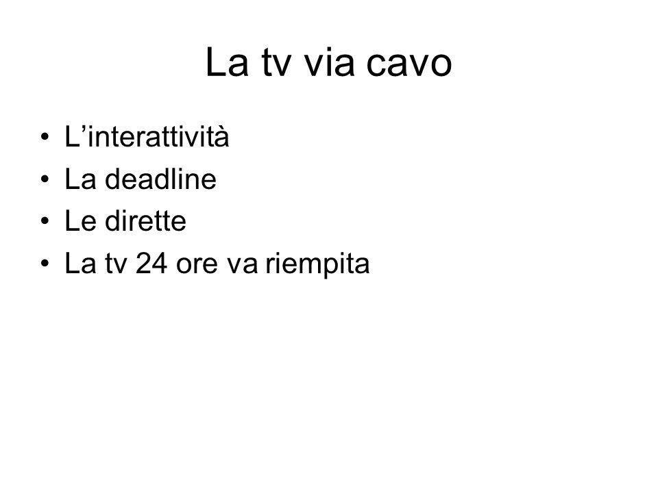 La tv via cavo Linterattività La deadline Le dirette La tv 24 ore va riempita