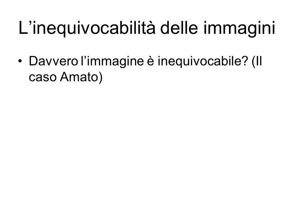 Linequivocabilità delle immagini Davvero limmagine è inequivocabile (Il caso Amato)