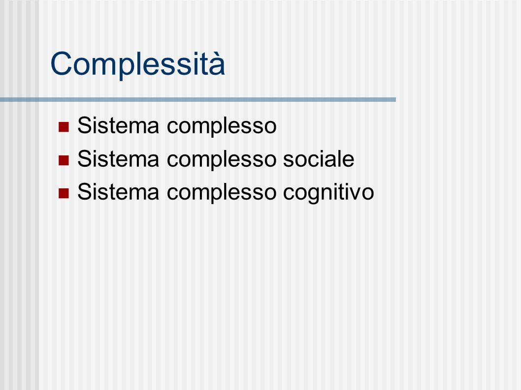Complessità Sistema complesso Sistema complesso sociale Sistema complesso cognitivo
