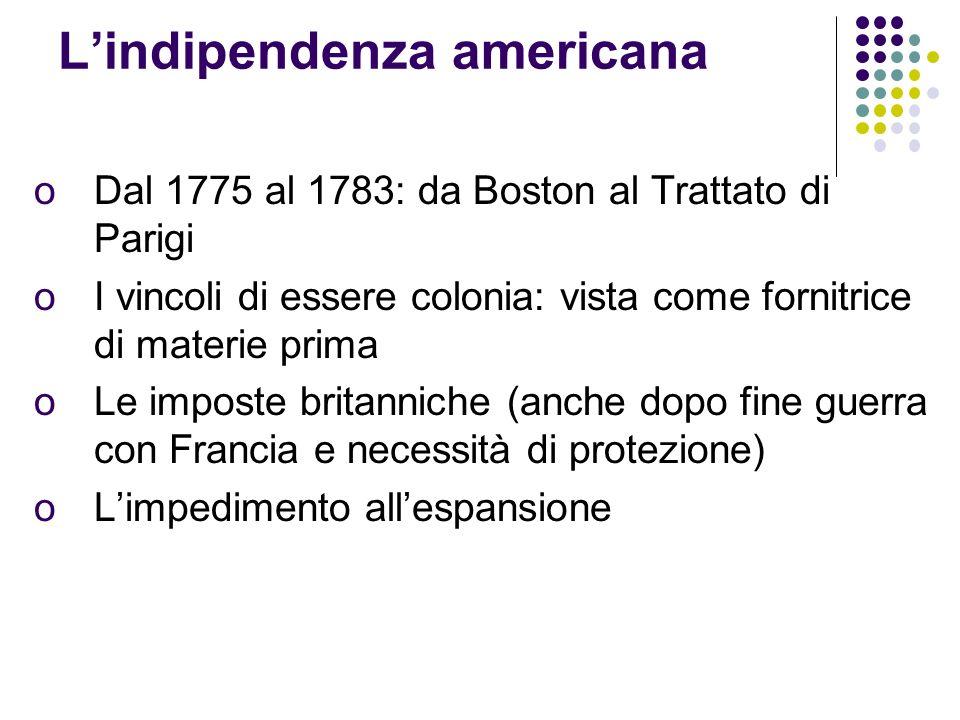 Lindipendenza americana oDal 1775 al 1783: da Boston al Trattato di Parigi oI vincoli di essere colonia: vista come fornitrice di materie prima oLe imposte britanniche (anche dopo fine guerra con Francia e necessità di protezione) oLimpedimento allespansione