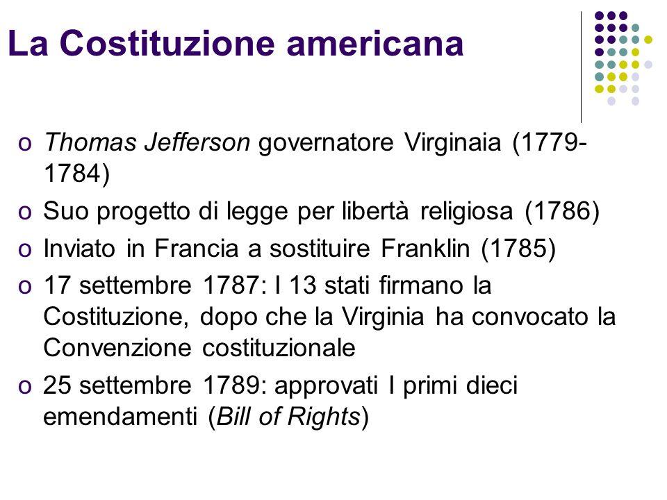 La Costituzione americana oThomas Jefferson governatore Virginaia (1779- 1784) oSuo progetto di legge per libertà religiosa (1786) oInviato in Francia a sostituire Franklin (1785) o17 settembre 1787: I 13 stati firmano la Costituzione, dopo che la Virginia ha convocato la Convenzione costituzionale o25 settembre 1789: approvati I primi dieci emendamenti (Bill of Rights)