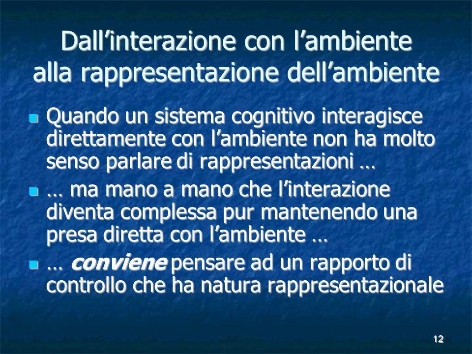 12 Dallinterazione con lambiente alla rappresentazione dellambiente Quando un sistema cognitivo interagisce direttamente con lambiente non ha molto se