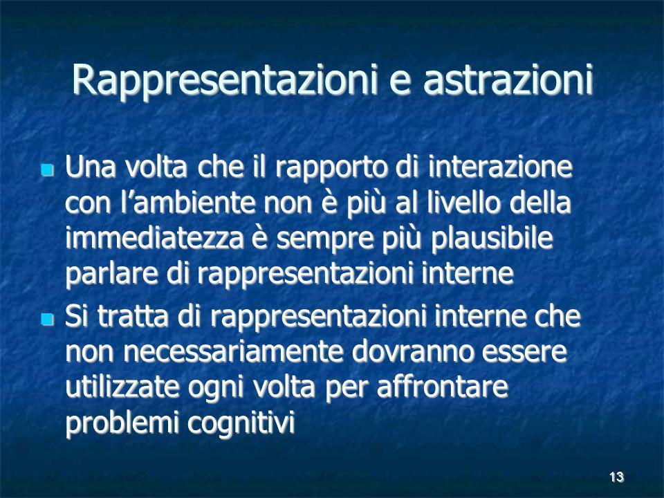 13 Rappresentazioni e astrazioni Una volta che il rapporto di interazione con lambiente non è più al livello della immediatezza è sempre più plausibil