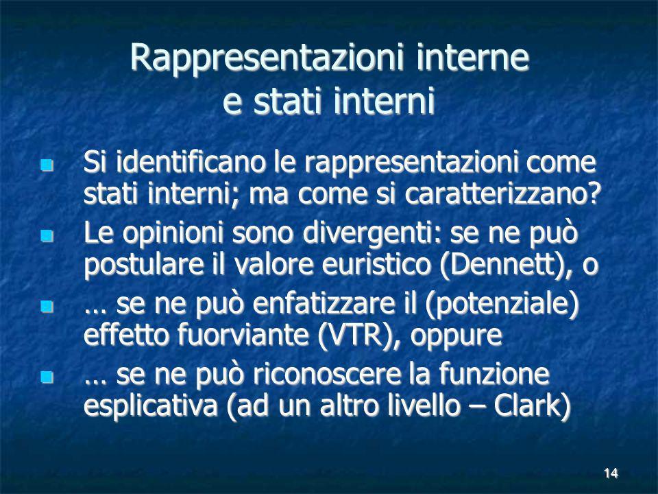 14 Rappresentazioni interne e stati interni Si identificano le rappresentazioni come stati interni; ma come si caratterizzano.
