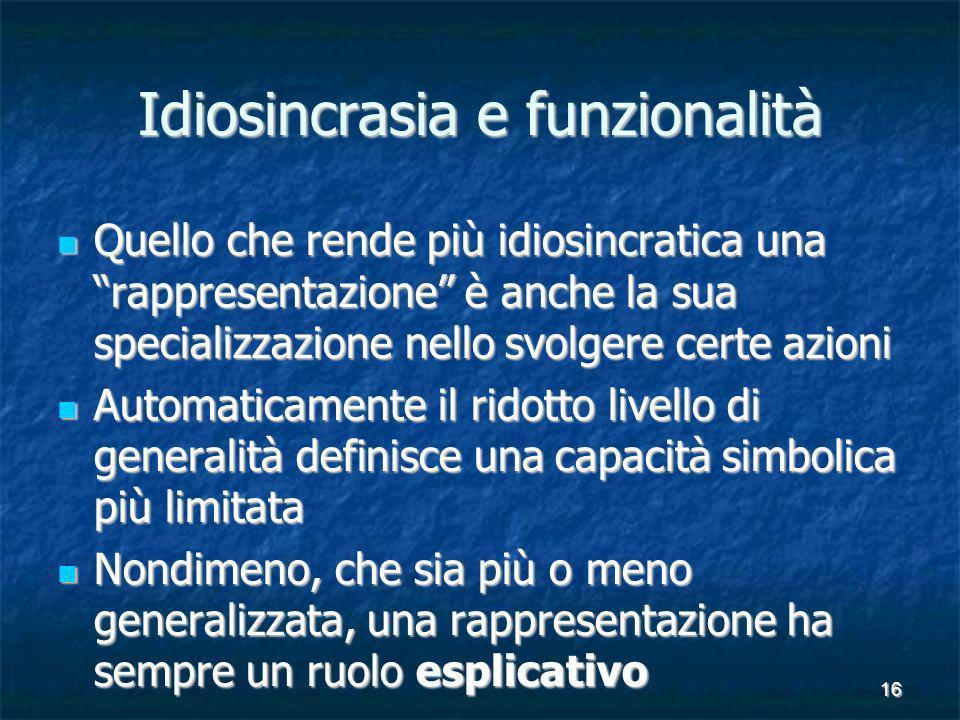 16 Idiosincrasia e funzionalità Quello che rende più idiosincratica una rappresentazione è anche la sua specializzazione nello svolgere certe azioni Q