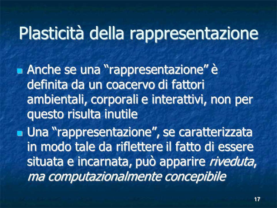 17 Plasticità della rappresentazione Anche se una rappresentazione è definita da un coacervo di fattori ambientali, corporali e interattivi, non per q