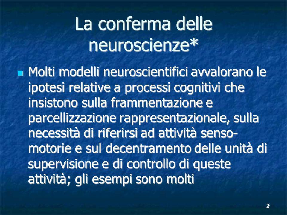 2 La conferma delle neuroscienze* Molti modelli neuroscientifici avvalorano le ipotesi relative a processi cognitivi che insistono sulla frammentazion