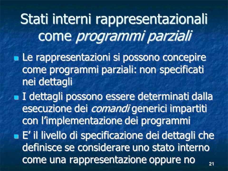 21 Stati interni rappresentazionali come programmi parziali Le rappresentazioni si possono concepire come programmi parziali: non specificati nei dett