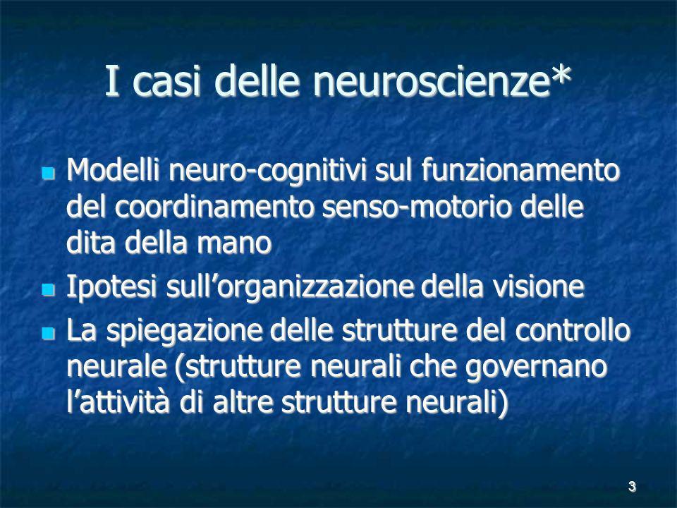3 I casi delle neuroscienze* Modelli neuro-cognitivi sul funzionamento del coordinamento senso-motorio delle dita della mano Modelli neuro-cognitivi s