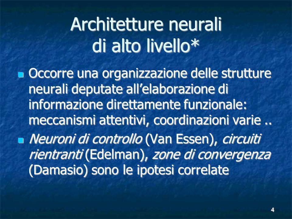 4 Architetture neurali di alto livello* Occorre una organizzazione delle strutture neurali deputate allelaborazione di informazione direttamente funzionale: meccanismi attentivi, coordinazioni varie..