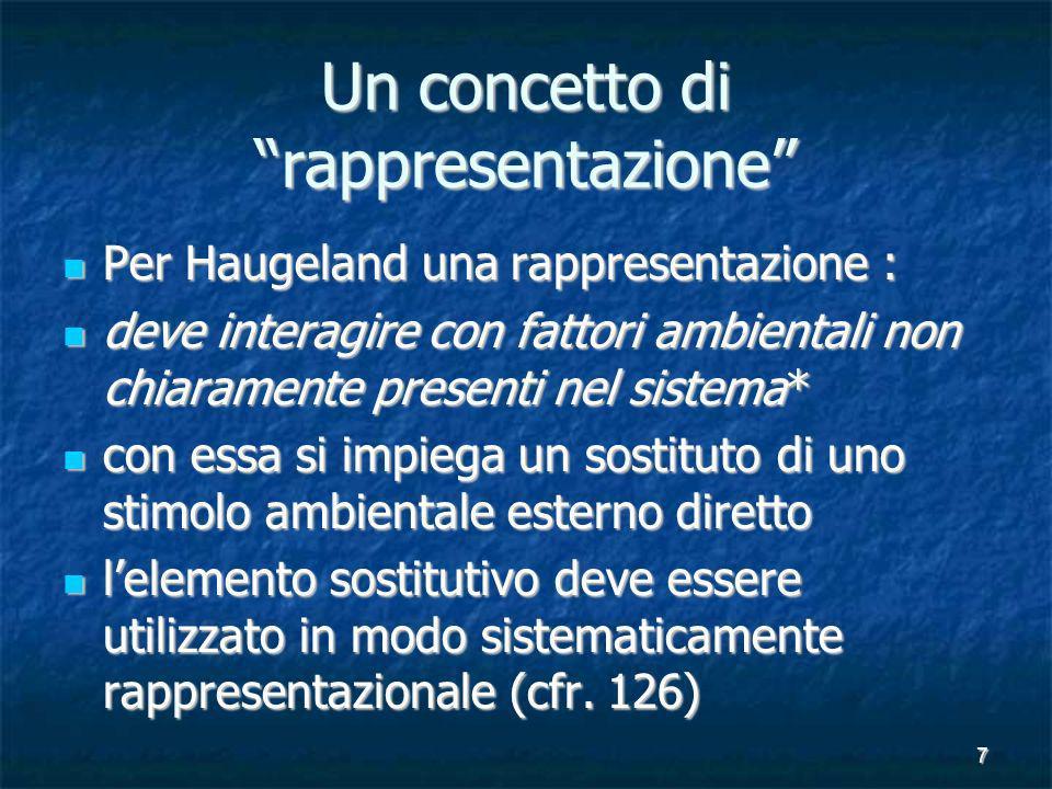7 Un concetto di rappresentazione Per Haugeland una rappresentazione : Per Haugeland una rappresentazione : deve interagire con fattori ambientali non