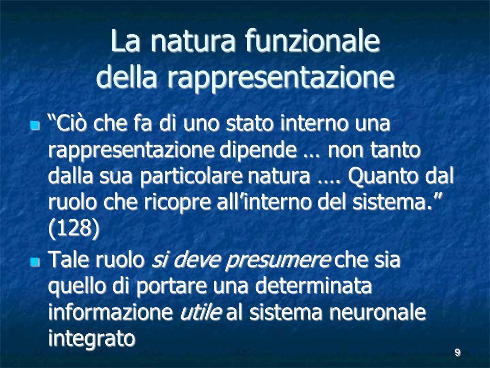 9 La natura funzionale della rappresentazione Ciò che fa di uno stato interno una rappresentazione dipende … non tanto dalla sua particolare natura ….
