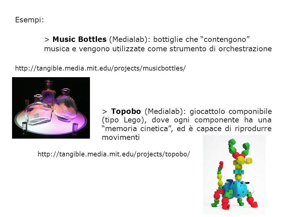 Esempi: > Music Bottles (Medialab): bottiglie che contengono musica e vengono utilizzate come strumento di orchestrazione http://tangible.media.mit.edu/projects/musicbottles/ > Topobo (Medialab): giocattolo componibile (tipo Lego), dove ogni componente ha una memoria cinetica, ed è capace di riprodurre movimenti http://tangible.media.mit.edu/projects/topobo/