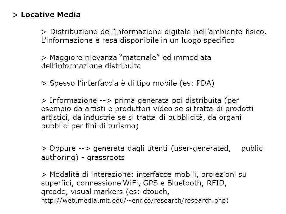 > Locative Media > Distribuzione dellinformazione digitale nellambiente fisico.