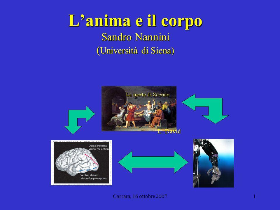 Carrara, 16 ottobre 20071 Lanima e il corpo Sandro Nannini ( Università di Siena)