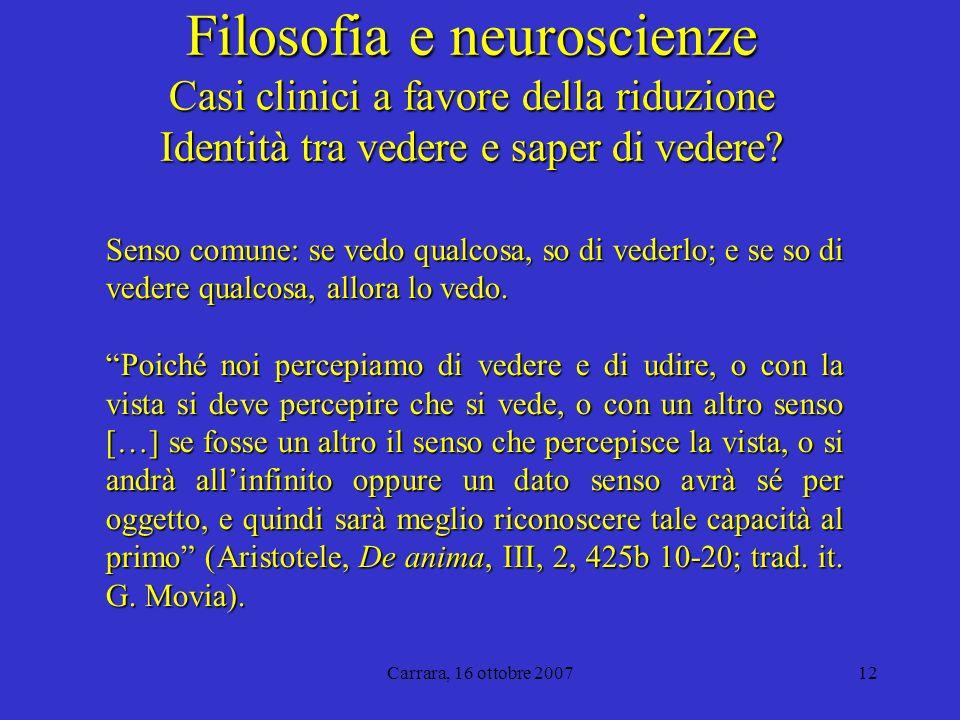 Carrara, 16 ottobre 200712 Filosofia e neuroscienze Casi clinici a favore della riduzione Identità tra vedere e saper di vedere.