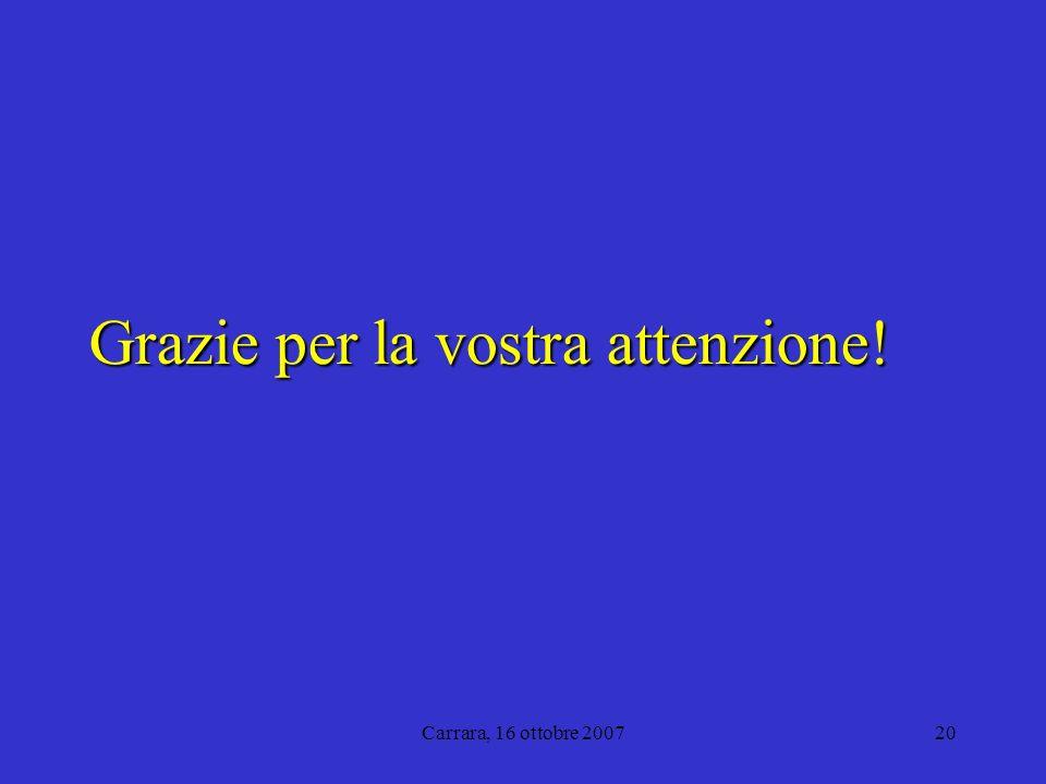 Carrara, 16 ottobre 200720 Grazie per la vostra attenzione!