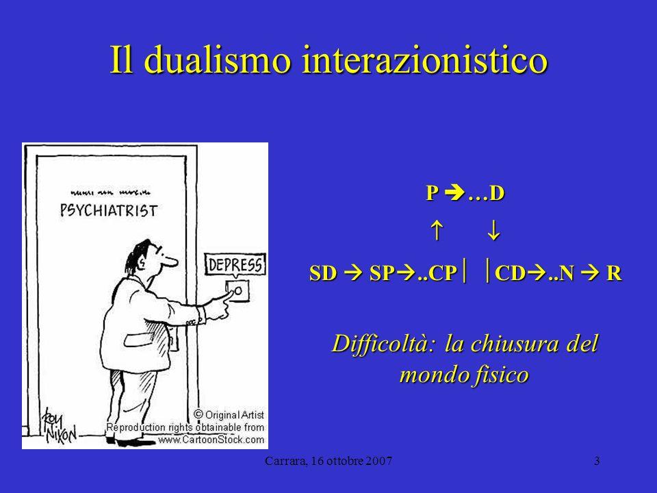 Carrara, 16 ottobre 20073 Il dualismo interazionistico P …D SD SP..CP CD..N R Difficoltà: la chiusura del mondo fisico