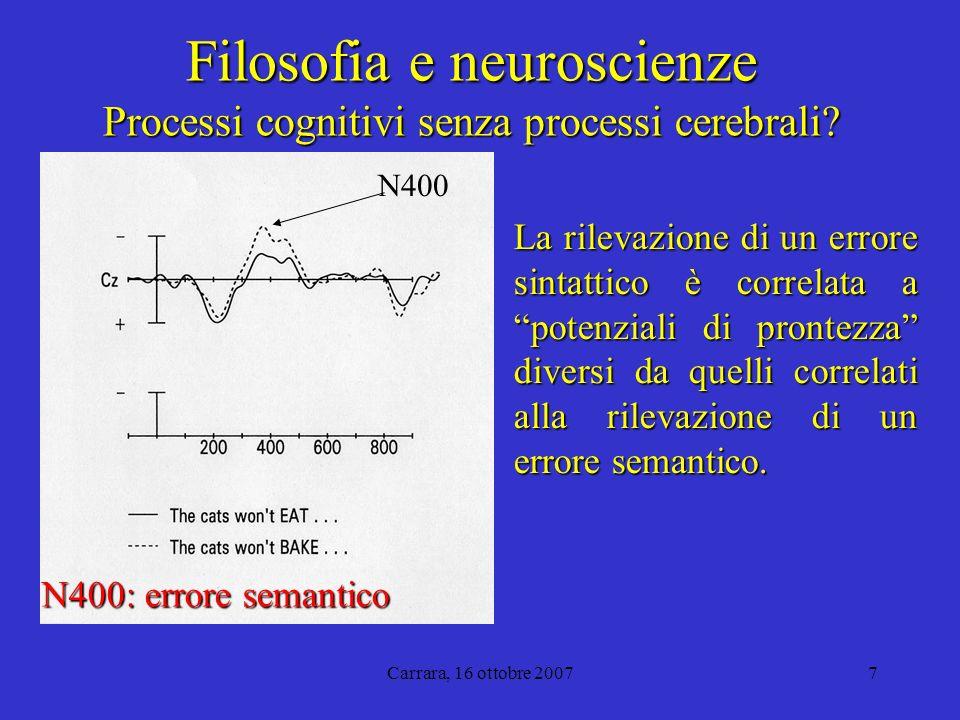 Carrara, 16 ottobre 20077 Filosofia e neuroscienze Processi cognitivi senza processi cerebrali.