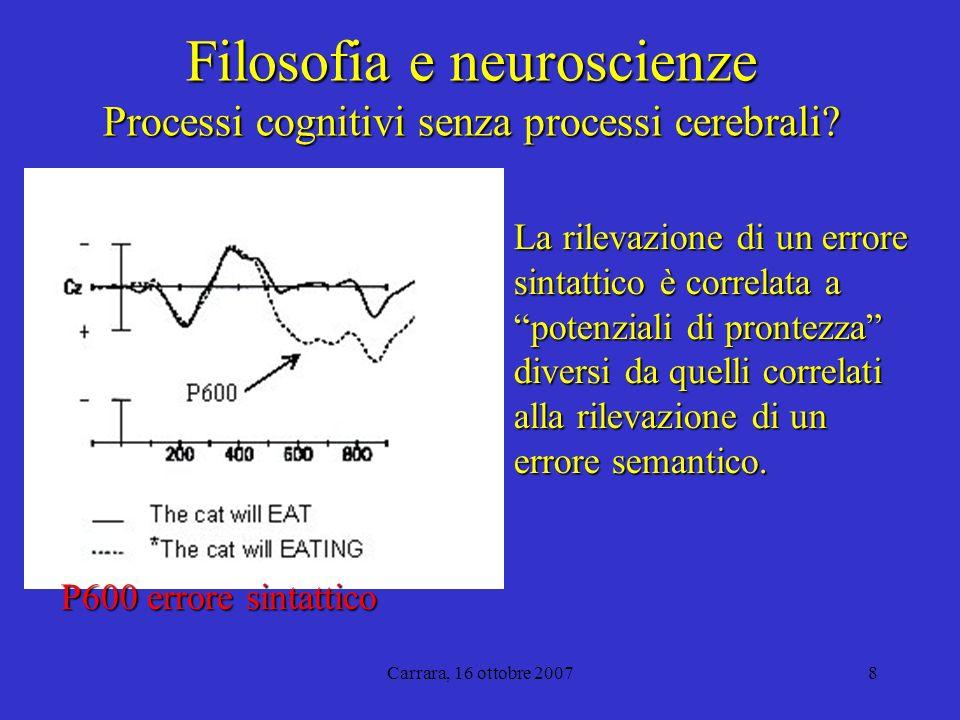 Carrara, 16 ottobre 20078 Filosofia e neuroscienze Processi cognitivi senza processi cerebrali.