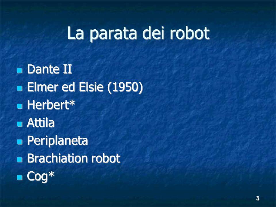 3 La parata dei robot Dante II Dante II Elmer ed Elsie (1950) Elmer ed Elsie (1950) Herbert* Herbert* Attila Attila Periplaneta Periplaneta Brachiation robot Brachiation robot Cog* Cog*