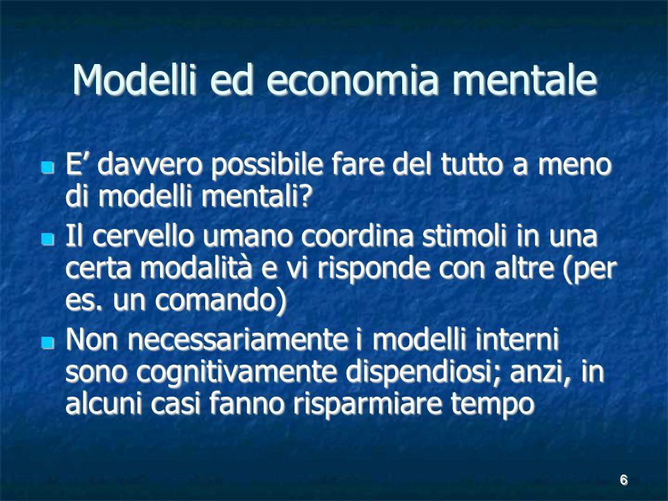 6 Modelli ed economia mentale E davvero possibile fare del tutto a meno di modelli mentali.