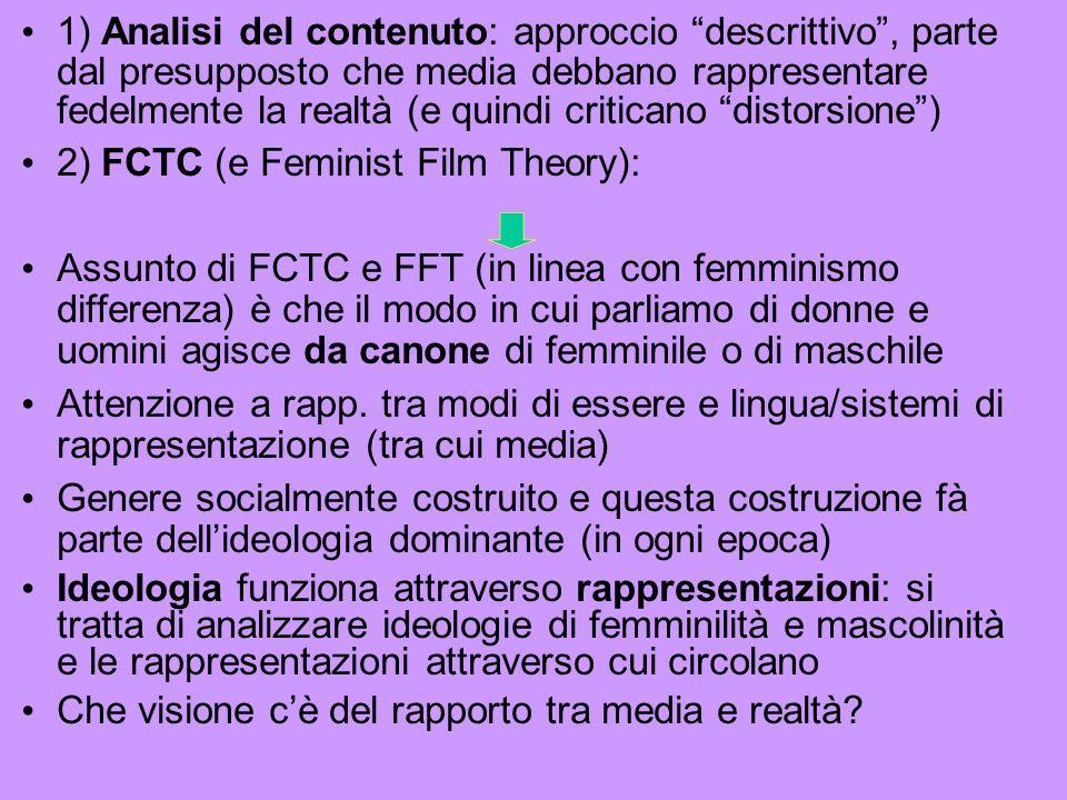 1) Analisi del contenuto: approccio descrittivo, parte dal presupposto che media debbano rappresentare fedelmente la realtà (e quindi criticano distorsione) 2) FCTC (e Feminist Film Theory): Assunto di FCTC e FFT (in linea con femminismo differenza) è che il modo in cui parliamo di donne e uomini agisce da canone di femminile o di maschile Attenzione a rapp.