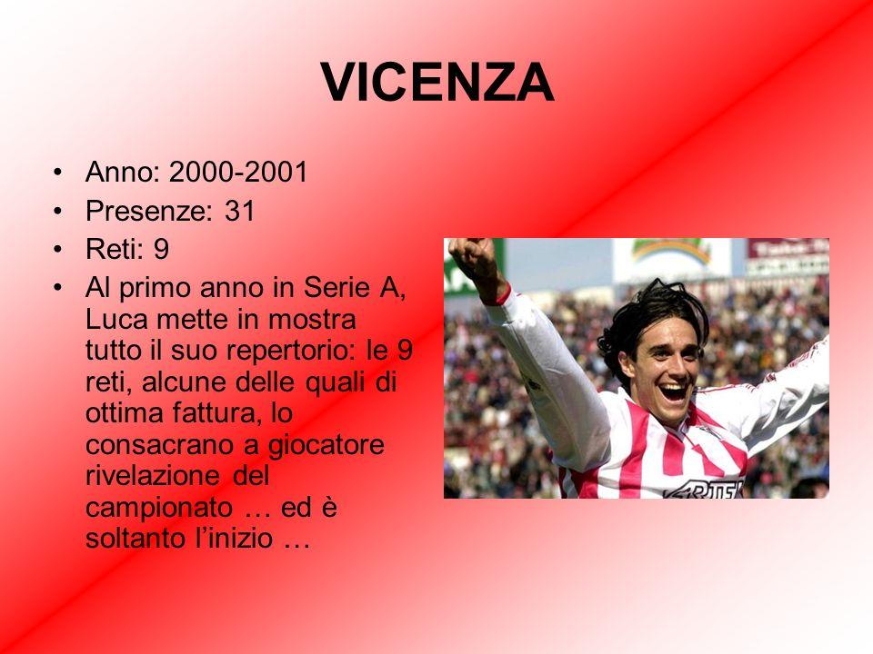 Anno: 2000-2001 Presenze: 31 Reti: 9 Al primo anno in Serie A, Luca mette in mostra tutto il suo repertorio: le 9 reti, alcune delle quali di ottima fattura, lo consacrano a giocatore rivelazione del campionato … ed è soltanto linizio …
