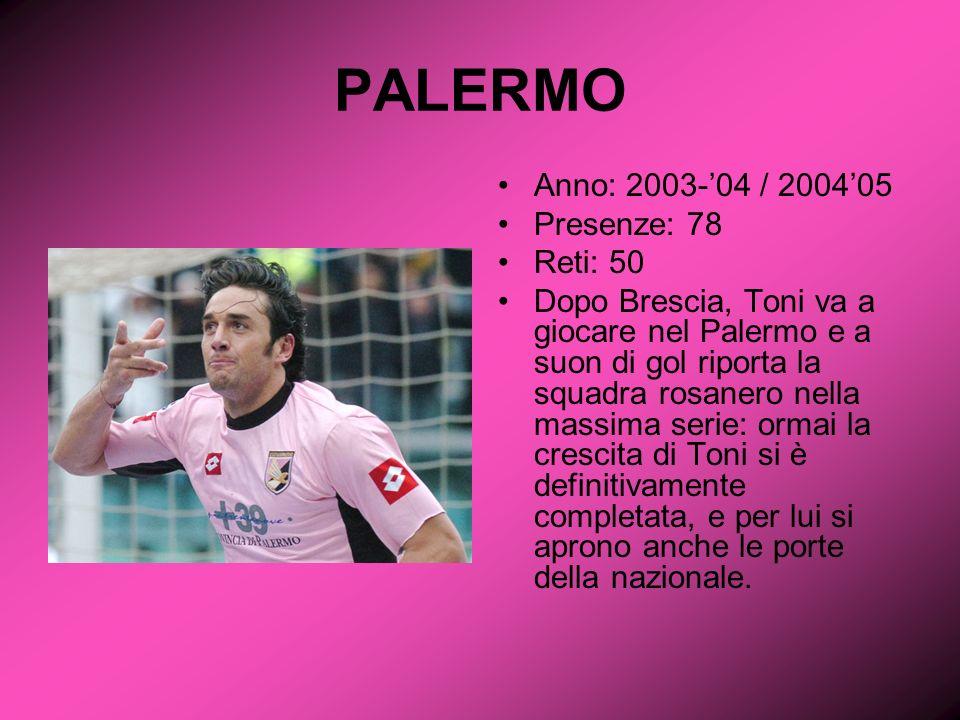 Anno: 2003-04 / 200405 Presenze: 78 Reti: 50 Dopo Brescia, Toni va a giocare nel Palermo e a suon di gol riporta la squadra rosanero nella massima serie: ormai la crescita di Toni si è definitivamente completata, e per lui si aprono anche le porte della nazionale.